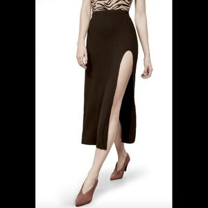 NEW Reformation Runyon Ribbed Side Slit Midi skirt